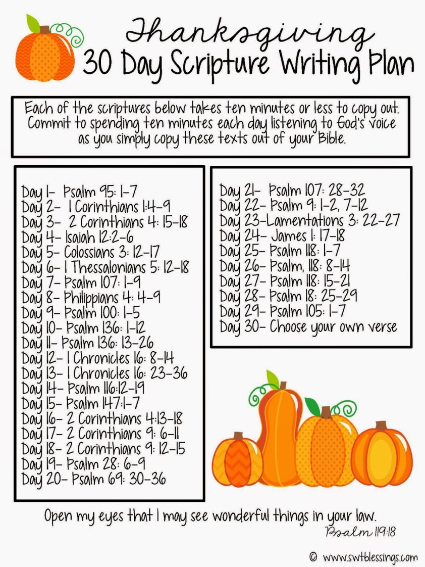 30 Day Thanksgiving Scripture Writing Plan